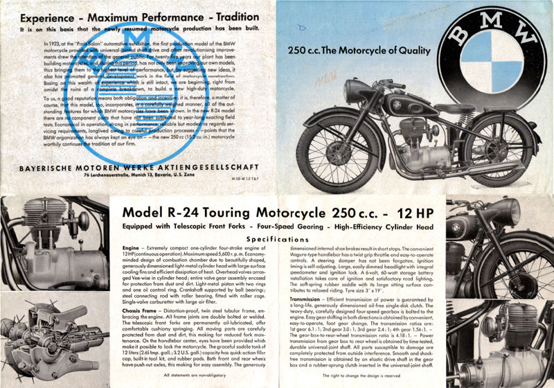 BMW R24 sales brochure. The first image below shows the layout of the